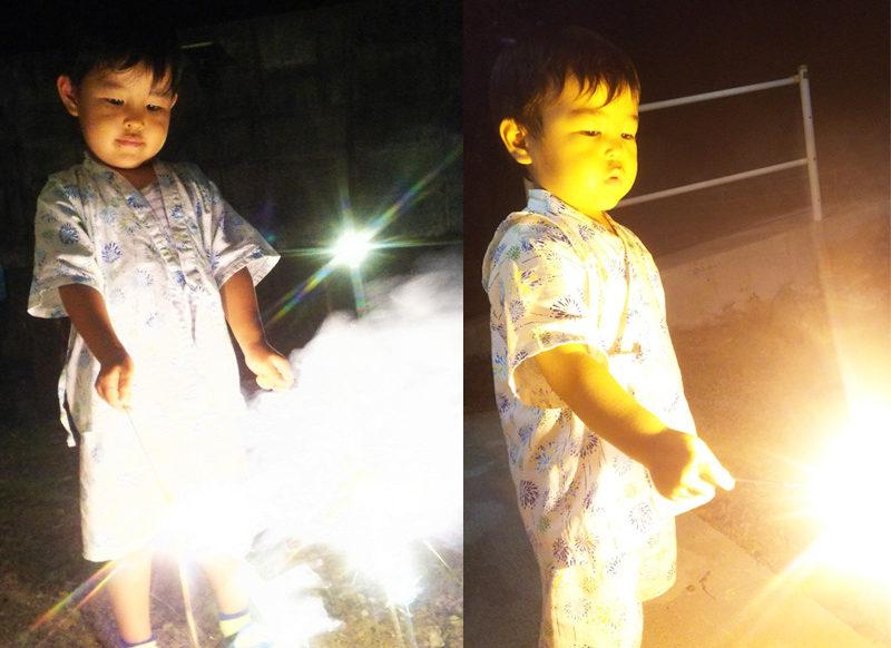花火をする子ども